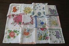 Vintage Lot of 12 Handkerchiefs Hankie Floral Pattern