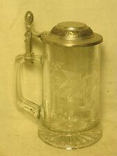 Zinn Pewter 95% glass stein mug beer lidded cup etched wildlife duck fowl birds