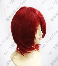 New Short Dark Red Cosplay Party Wig +wig cap