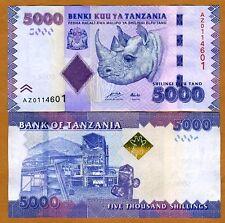 Tanzania 5,000 (5000), 2010 (2011) P-43a UNC > Rhino