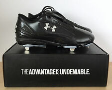 New UNDER ARMOUR Mens Black Clutch Low ST Baseball Cleats Shoes