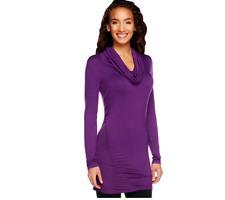K-DASH by Kardashian Cowl Neck Long Sleeve Ruched Tunic Royal Purple Small