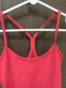lululemon red tank top, bra insert, racer back, sz 4