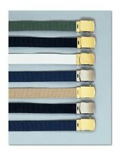 "NEW Military Canvas Web Belt Chrome or Brass Buckle 44""  CHOICE COLOR COMBO!"
