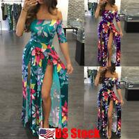 Plus Size Women's Floral Long Maxi Dress Split Cocktail Party Beach Sundress USA