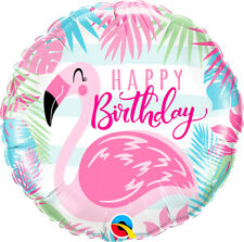 "18"" Pink Flamingo Happy Birthday Foil Helium Balloon Hawaiian Party Decoration"