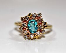 Worlds Rarest 1.50tcw Brazilian Paraiba Tourmaline Diamond 14kt Yellow Gold Ring