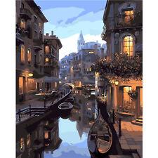 "DIY Paint by Number Kit Romantic Venice Gondola Italy Landscape Oil Painting 20"""