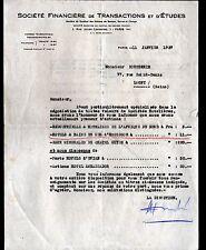 """PARIS (IX°) IMMOBILIER / HOTELS """"Sté FINANCIERE de TRANSACTIONS & d'ETUDES"""" 1937"""