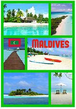 Malediven - Souvenir NEUHEIT Kühlschrank-Magnet - Sehenswürdigkeiten / Flaggen -