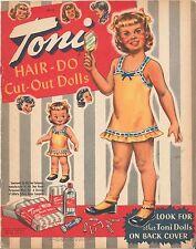 VINTAGE UNCUT 1950 TONI HAIR-DO PAPER DOLLS ~LOWE ORG SZ~LASER REPRODUCTION NO1