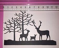 Die Cuts! 4 Pc 'Winter Christmas Embellishment'  Deer Tree R/G/B/W
