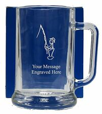 Personalised Fishing Pint Glass Tankard Birthday Free Gift Box GT18