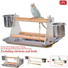 Parrot Playstand With Feeders Practical Bird Training Wooden Perch Pet Supplies