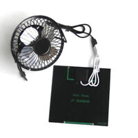 4'' USB Iron Solar Powered Fan 3W Panel For Outdoor Home Cooling Ventilation HOT