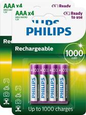 8 x PHILIPS 1000mAh AAA RECHARGEABLE BATTERIES READY TO USE