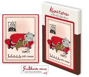 Glückwunschkarte Schokolade Hilft Immer 70grVollmilchschokolade Kunstgrußkarte