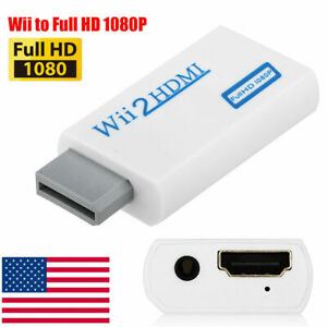 Wii to HDMI Wii 2 HDMI Full HD Portable Converter Adapter 3.5mm Audio Out White