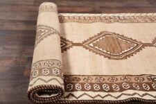 Geometric Earth-tone NATURAL DYE Moroccan Oriental Area Rug Hand-made WOOL 4'x8'