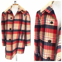 Vintage VTG 70s 1970s Pendleton Red Plaid Quilted Lined Jacket Coat