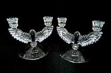 """NEW MARTINSVILLE QUEEN ANNE CRYSTAL EAGLE 2PC 6"""" DOUBLE LIGHT CANDLESTICKS 1935"""