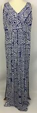 Chaps Ralph Lauren Blue White Geometric Sleeveless Maxi Dress Side Slits Size L