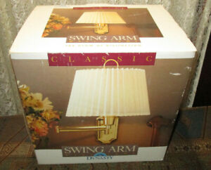 Dynasty Swing-Arm Wall Lamp Solid Brass 3-way Rotary Switch Pleated Shade NOS