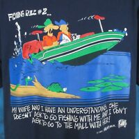 vintage 90s FISHING WIFE JOKE UNBALANCED LINES CARTOON T-Shirt XL comic thin 80s