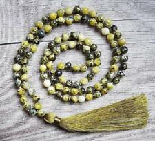 8mm Green JasperNatural gemstones Mala knotted Necklace Buddhist Prayer Beads
