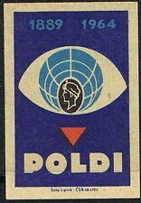 Matchbox Label. 75th Anniversary Poldi (1889-1964). Solo Works, Czechoslovakia