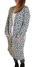 UK Sizes 8 - 22 Ladies Long Leopard Cardigan 100 Cotton EU 36-50 Black White 16