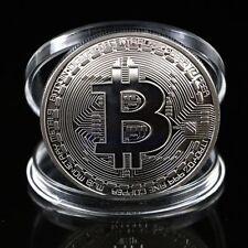 1Pc Silver Plated Bitcoin Coin Collectible BTC Coin Art Collection Gift Physical
