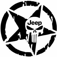 JEEP STAR Distressed  Decal Wrangler TJ JK Rubicon Hood Fender Punisher Sticker