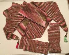 Unique set Pink Girl's Handmade Shawl Wrap Scarf Baktus mittens Crochet Knit