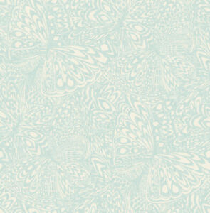 """Metallic and Baby Blue Butterfly Wallpaper Bolt - 20.5"""" x 396"""" Roll (56 sq ft)"""