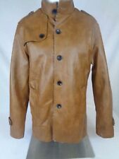 Hipster Styling Fashion Mens Chinese Collar Jacket Faux leather Coat Size XL