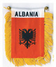 "ALBANIA MINI BANNER FLAG 4 x 6"" with BRASS STAFF & SUCTION CUP  - NEW"