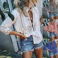 Women Fashion Solid Lace Tops Sexy V-Neck Blouse Half-Sleeve P Casual Shirts