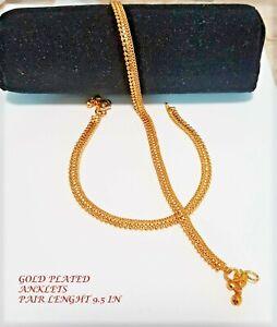 ANKLETS TRADITIONAL UNIQUE INDIAN GOLD-PLATED ANKLET BRACELET PAYAL  KAPA