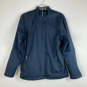 Nike Golf Clima Fit Women's Medium Blue Full Zip Jacket Lined Back Vent Pockets