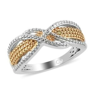 Diamond Band Ring Platinum Plated Yellow Jewelry Gift For Women Size 6
