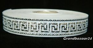 25 meters Jacquard Ribbon Trim *16mm width Greek Key*White/Silver*
