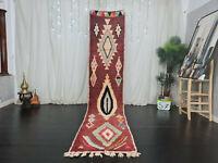 "Moroccan Boujaad Handmade Runner Rug 2'3""x11'4"" Geometric Red Berber Wool Carpet"