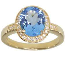 Swiss Blue Topaz Oval Gemstone Diamond 14ct Yellow Gold Ring size S
