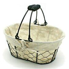 Oval Vintage Chicken Wire Fruit Basket Cotton Liner Snack Dessert Serving Basket