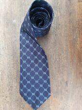 Vintage GUCCI Silk Tie. Mens Neck Tie. Navy Blue Geometric Design.