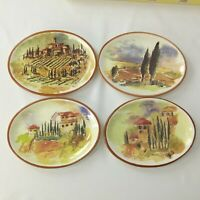 "Williams Sonoma Tuscan Landscape 8"" Oval Cocktail 4 Plates Set Portugal Tuscany"