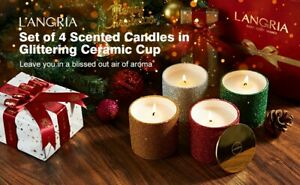 LANGRIA Scented Candles,Natural Soy Wax,Rose, Lavender, Vanilla, Gardenia