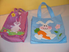 2 Cloth Easter Baskets With Bunnys on them