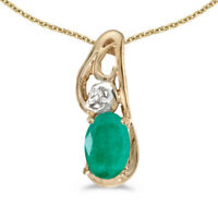 """14k Yellow Gold Oval Emerald And Diamond Pendant with 18"""" Chain"""